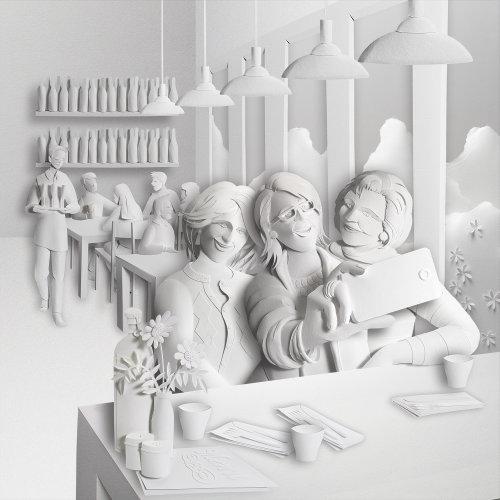 Ilustración 3D de damas haciendo selfies mientras almuerza