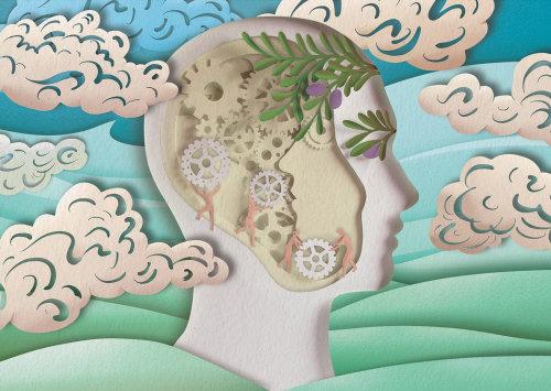 Ilustración de corte de papel de la vista lateral del rostro humano