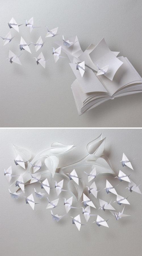 Ilustración de arte de papel de pájaros