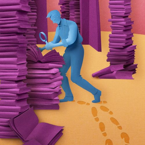Paper art of man searching