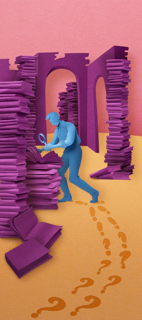 Papier art de l'homme à la recherche