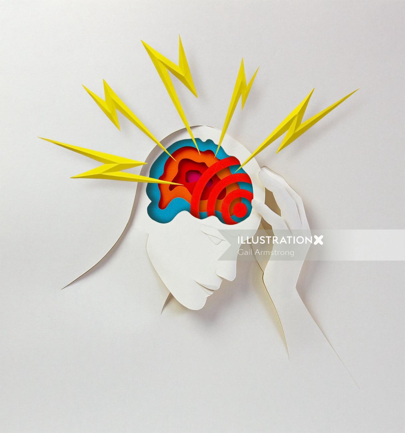 Paper art of Human brain
