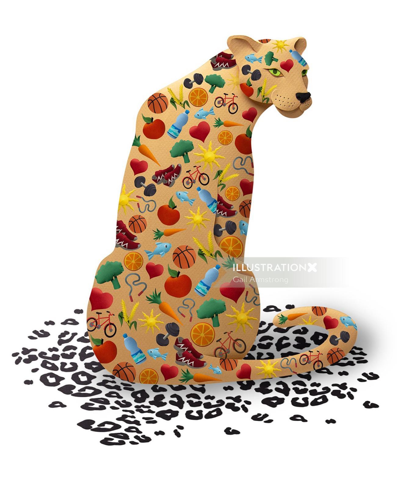 Illustration of colorful Cheetah
