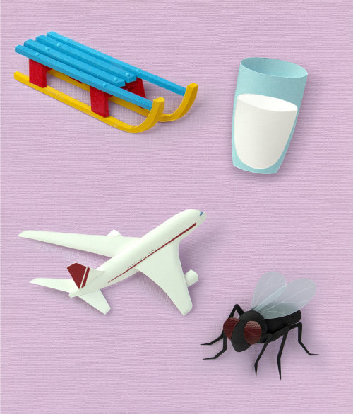 Vocabulary icons Paper art