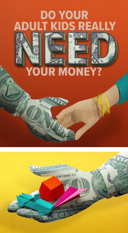 Mains d'argent à l'illustration du soutien financier parental