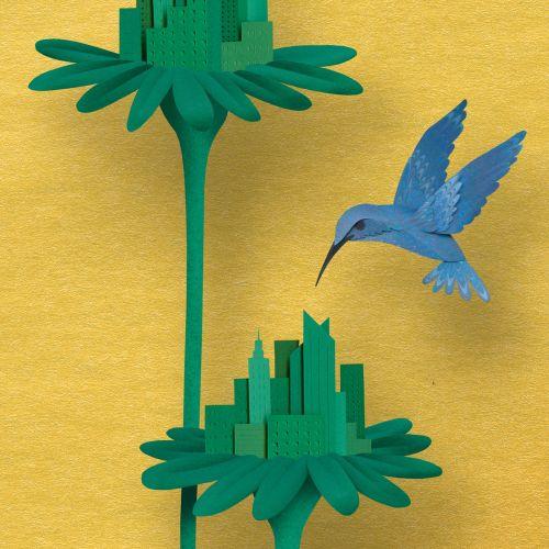 Paper Art blue hummingbird hovering at flowers