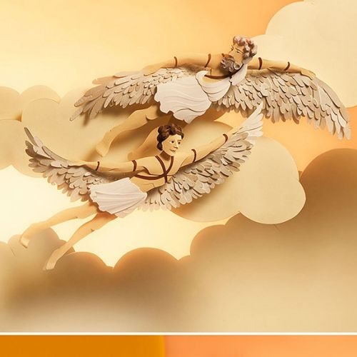 Paper art angels flying