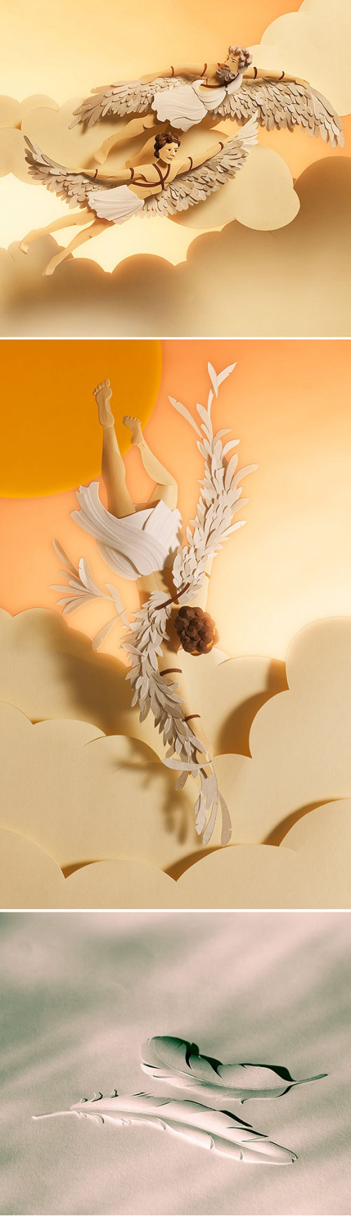 Paper art angels flying