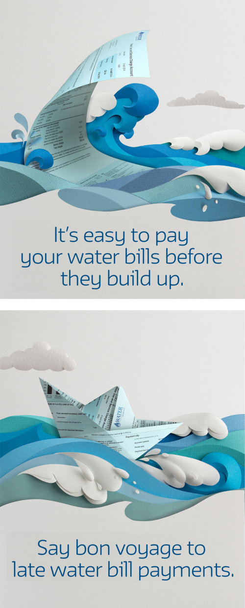 origami wave and boat made from water bills