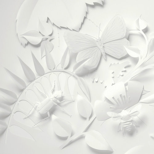 paper art insects with  foliage