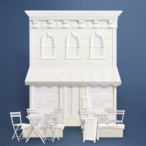 White paper art of shop fronts