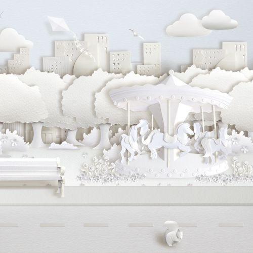 Paper art park scene