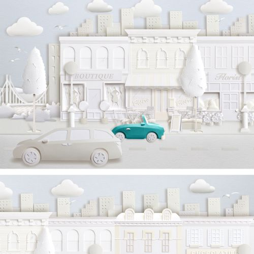 Paper art city with shop fronts