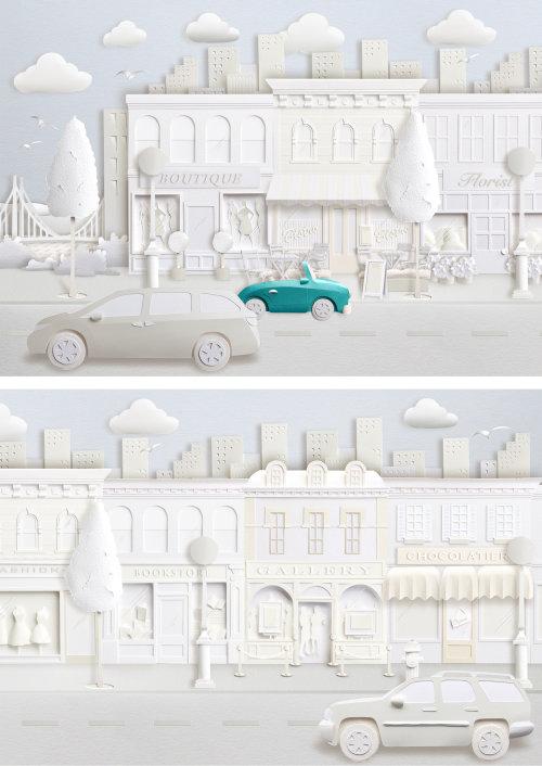 Ville d'art en papier avec devantures