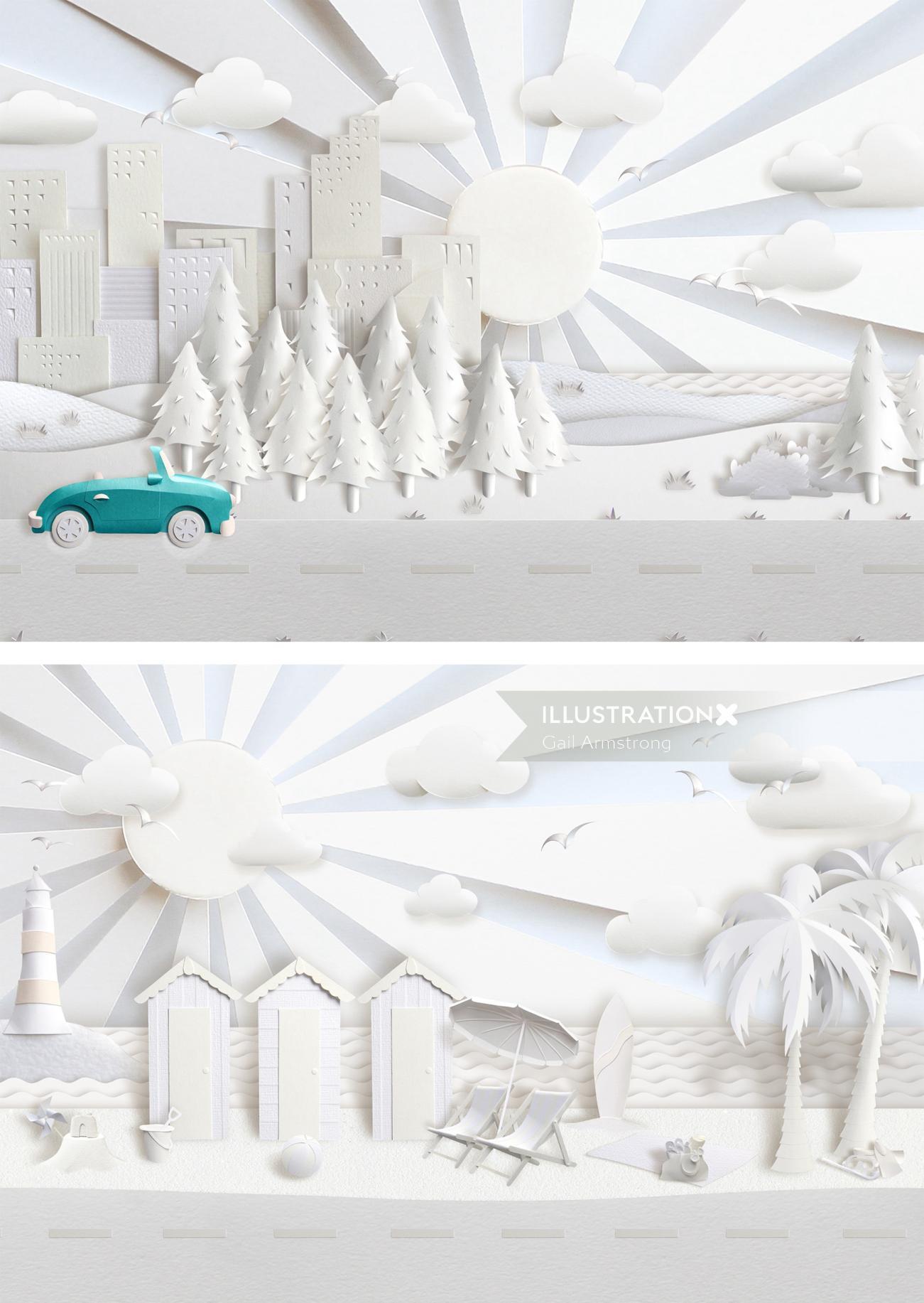 Paper art beach huts