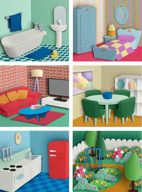 Ensembles de pièces conceptuelles de la maison de poupée