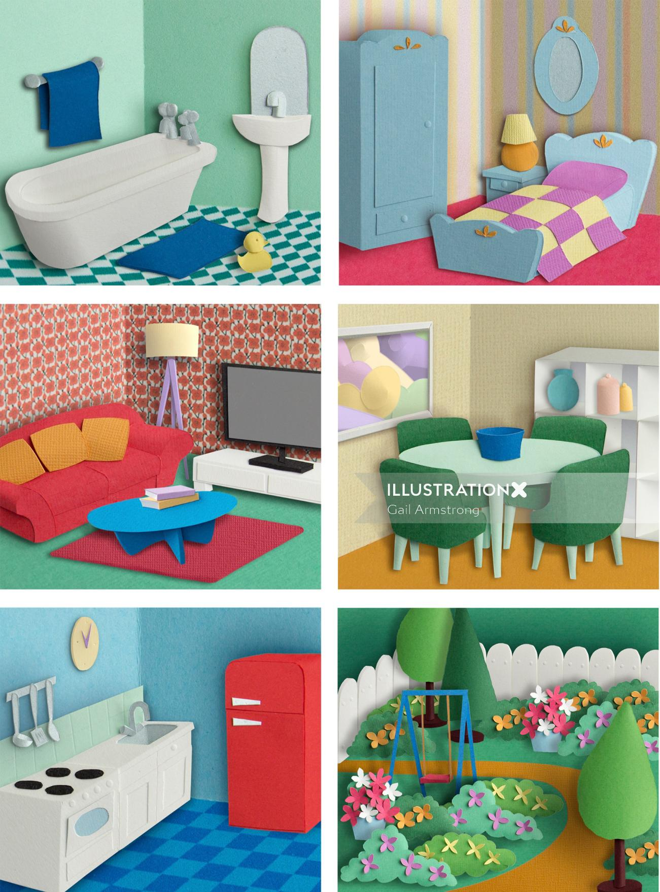 Conceptual Room sets from doll's house