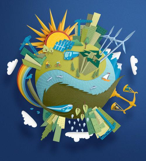 industrie, recyclage, harmonie, développement, planète saine