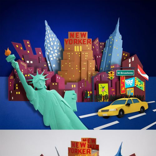 New York skyline, State of Liberty, Yellow cabs and nightlife