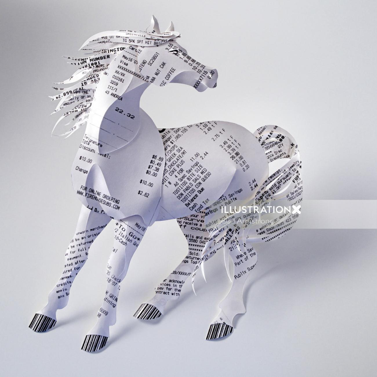 Illustration of a horse made from bill receipts