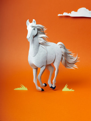 3D illustration of a running horse gallops