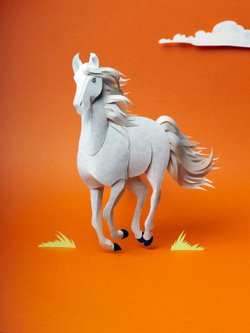 Ilustración 3D de un caballo corriendo al galope