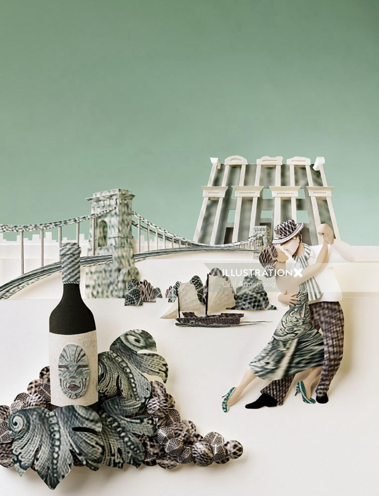 Illustration of travelscene made from dollar bills