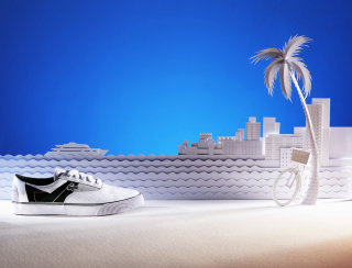 Illustration of city beach scene