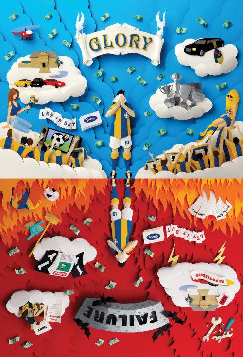 """Ilustración motivacional de la escultura de papel de """"Gloria"""" y """"Fracaso"""" en el fútbol"""