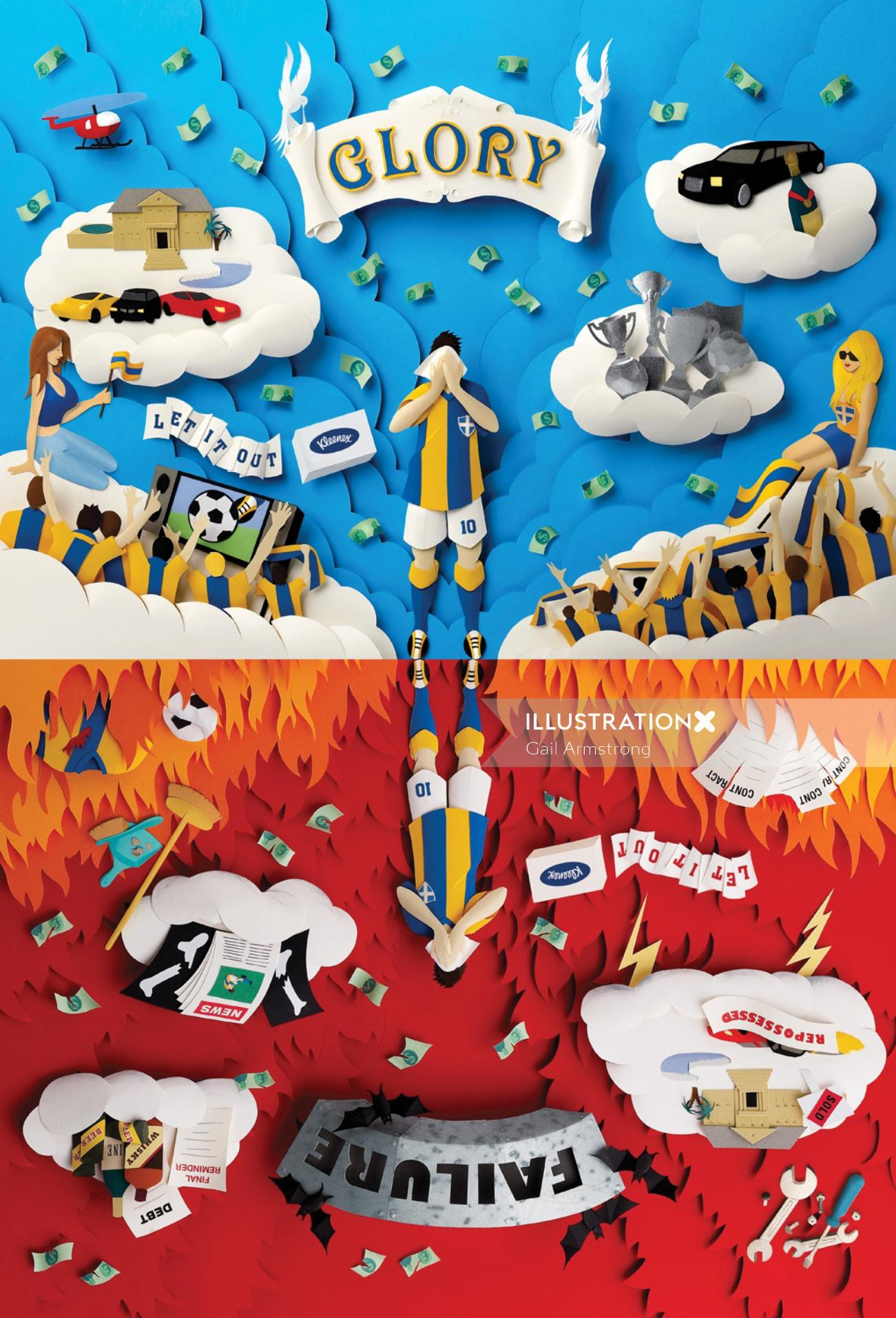 """Paper sculpture motivational illustration of """"Glory"""" and """"Failure"""" in football"""