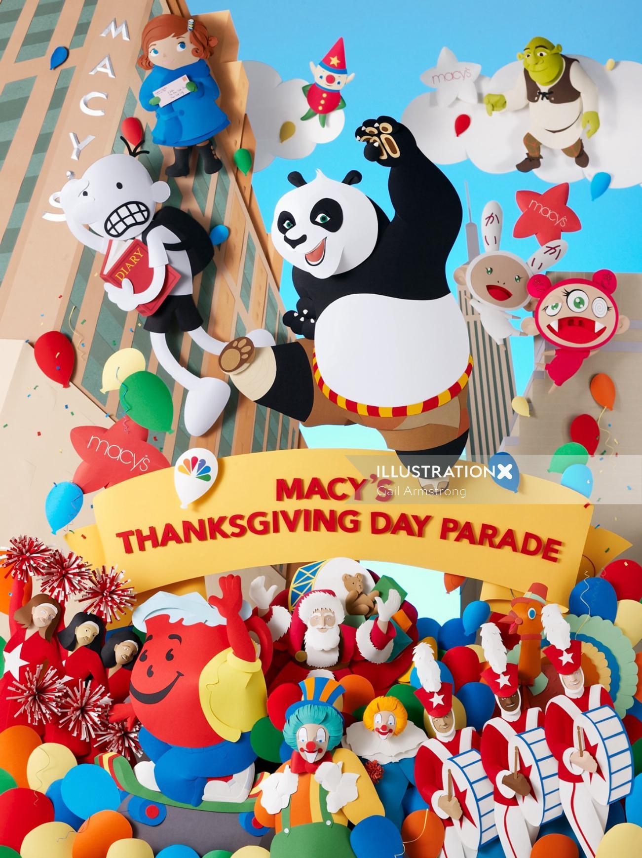 84th Macy's Thanksgiving Day Parade with Kung fu Panda, Shrek and Whimpy Kid
