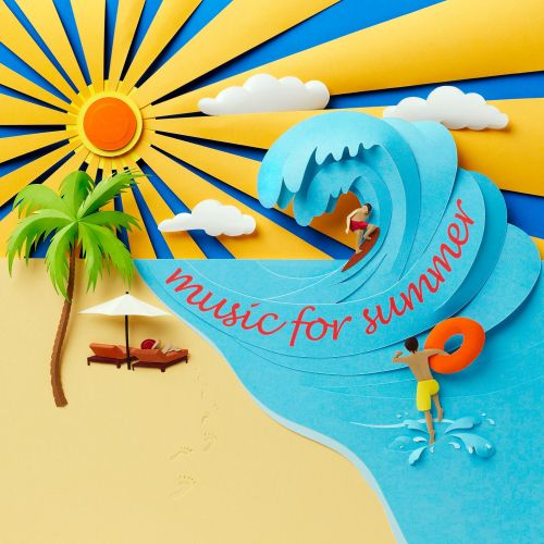 Beach scene in paper sculpture showing sun, sand and sea with surfer on wave