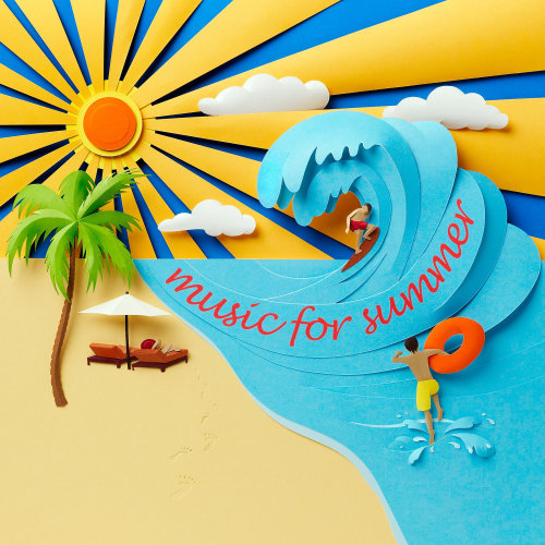 Escena de playa en papel escultura mostrando sol, arena y mar con surfista en ola