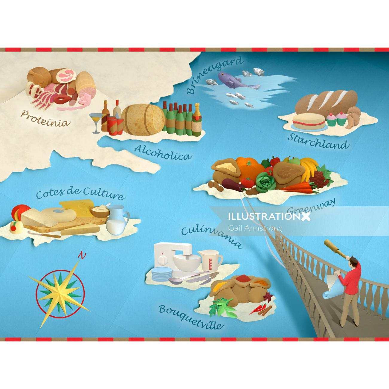 paper sculpture food map of discovery
