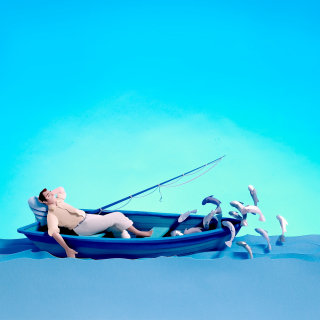 Paper cut image of fisherman relaxing in boat with fishing rod