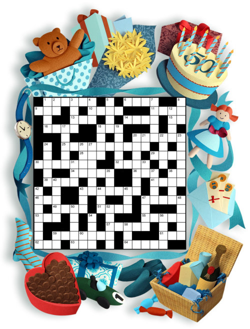 Paper sculpture images surround the crossword with a theme of gifts and giving