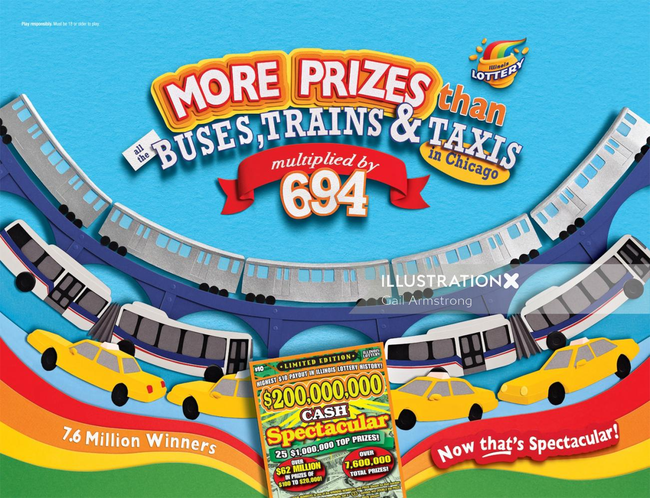 Illinois Lottery with prizes like Buses and Train