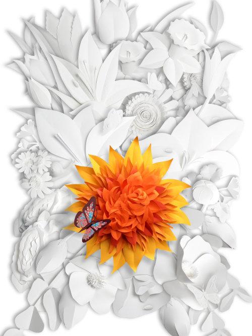 Ilustración de mariposa en flor de Dalia