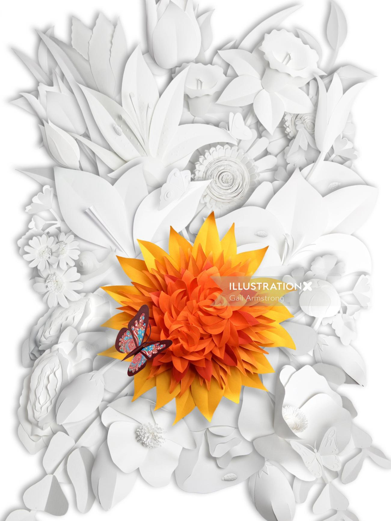 illustration of butterfly on dahlia flower