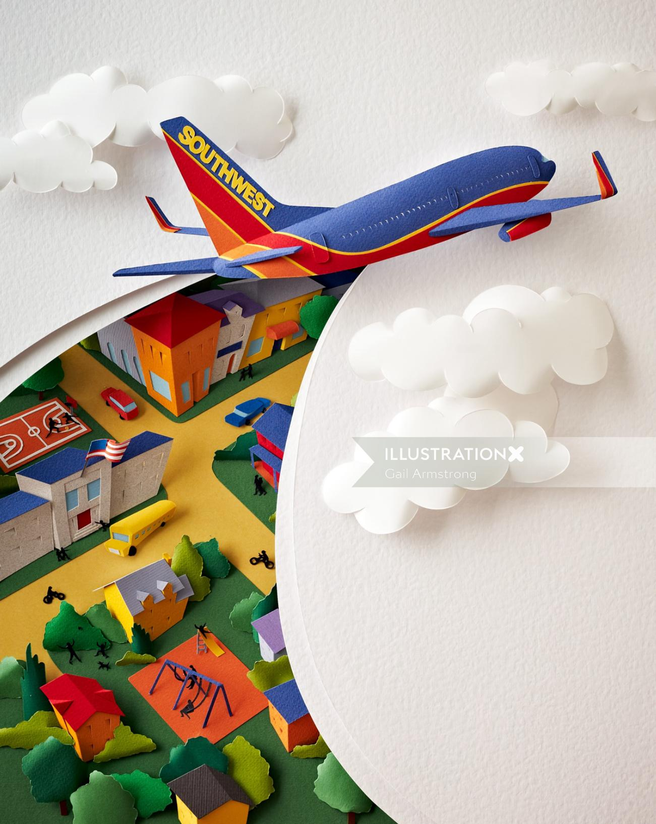 Paper sculpture image of a SouthWest Airlines plane cutting through the sky and clouds