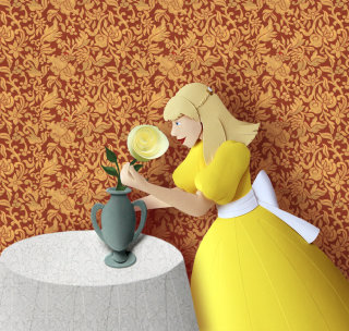 3D papercraft image of girl placing a rose into a vase
