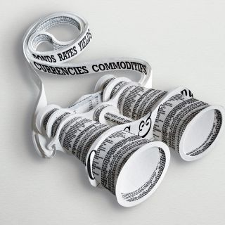 Newspaper binoculars illustration