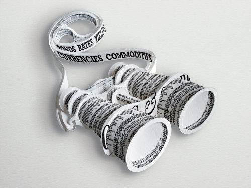 Ilustración de binoculares de periódico