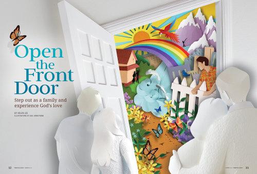 Ilustración de una familia mirando Rainbow
