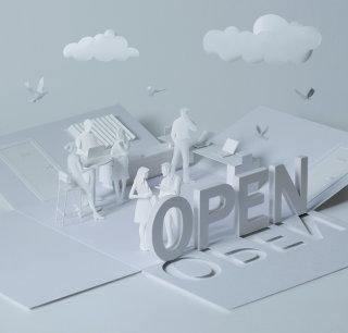 illustration of open plan office