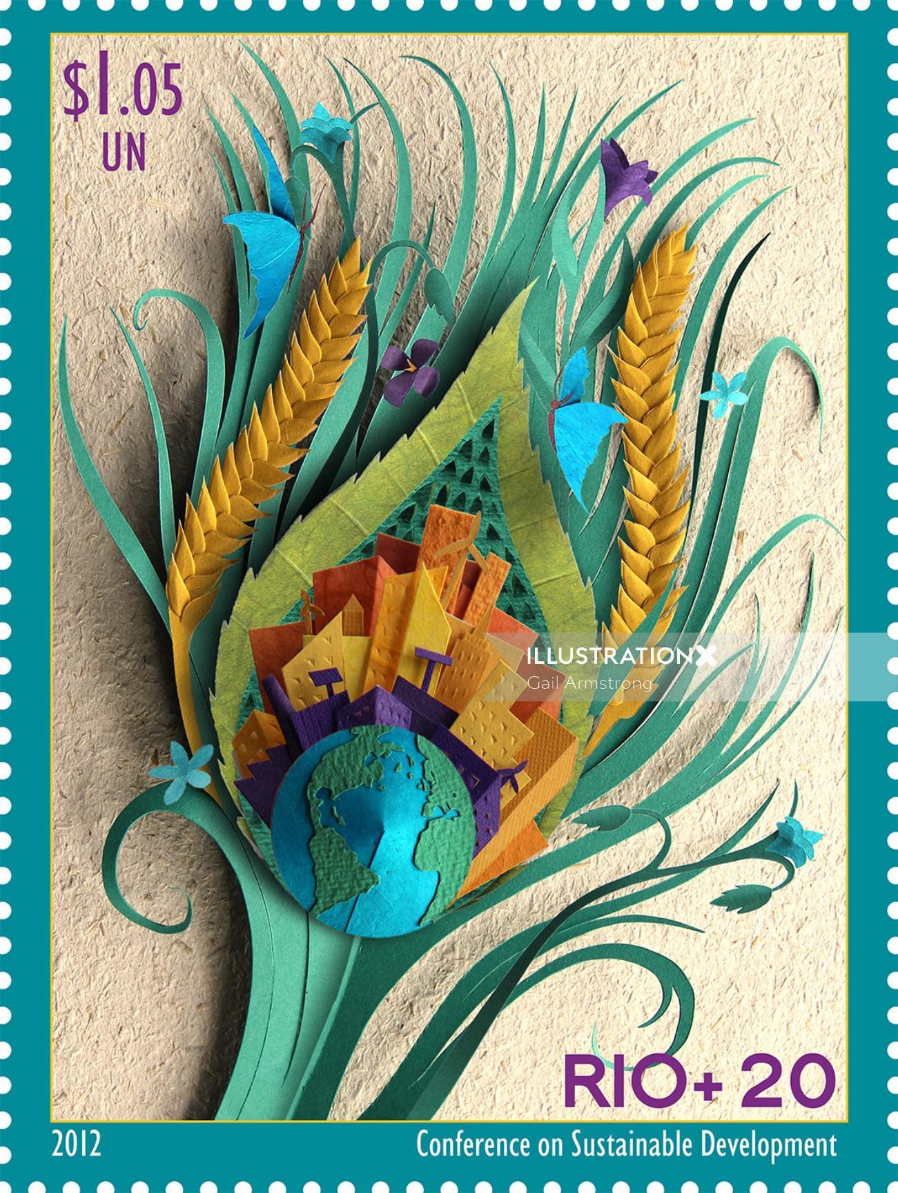 peacock feather illustrating sustainable development