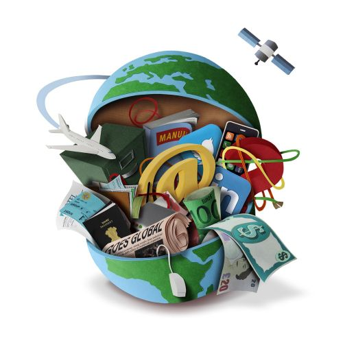 open globe spilling out all the trappings of international business