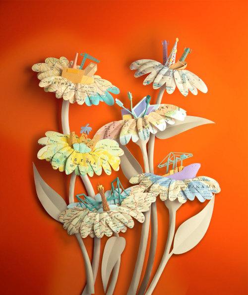 Ilustración de mapa de flores de papel por Gail Armstrong