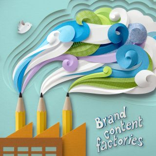 Smoking factory with pencil chimneys - Paper cut image illustration by Gail Armstrong