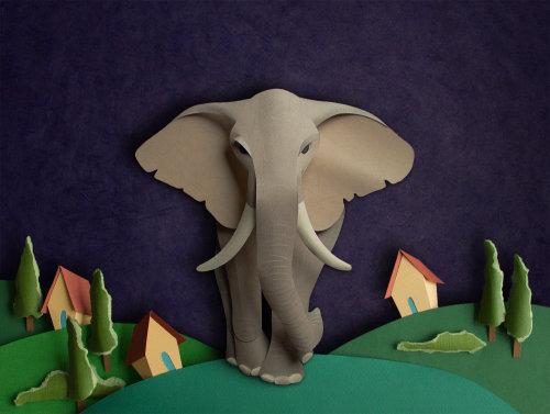 Ilustración de elefante de papel cortado por Gail Armstrong
